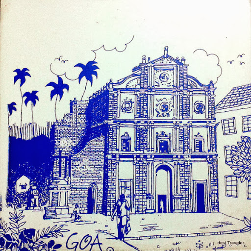 St Xavier's Church painted tile Goa
