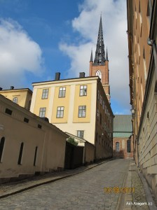 Inside old city - nice rise, leading up to Riddarholmskyrkan, the national church of Sweden