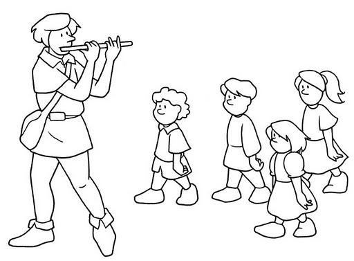Pinto Dibujos: Flautista para colorear