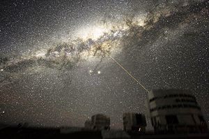 An image of the Milky Way's Galactic Center in the night sky above Paranal Observatory