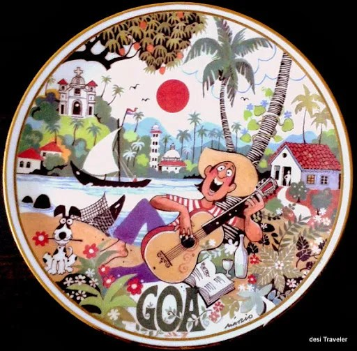 Mario Miranda cartoon tile Goa