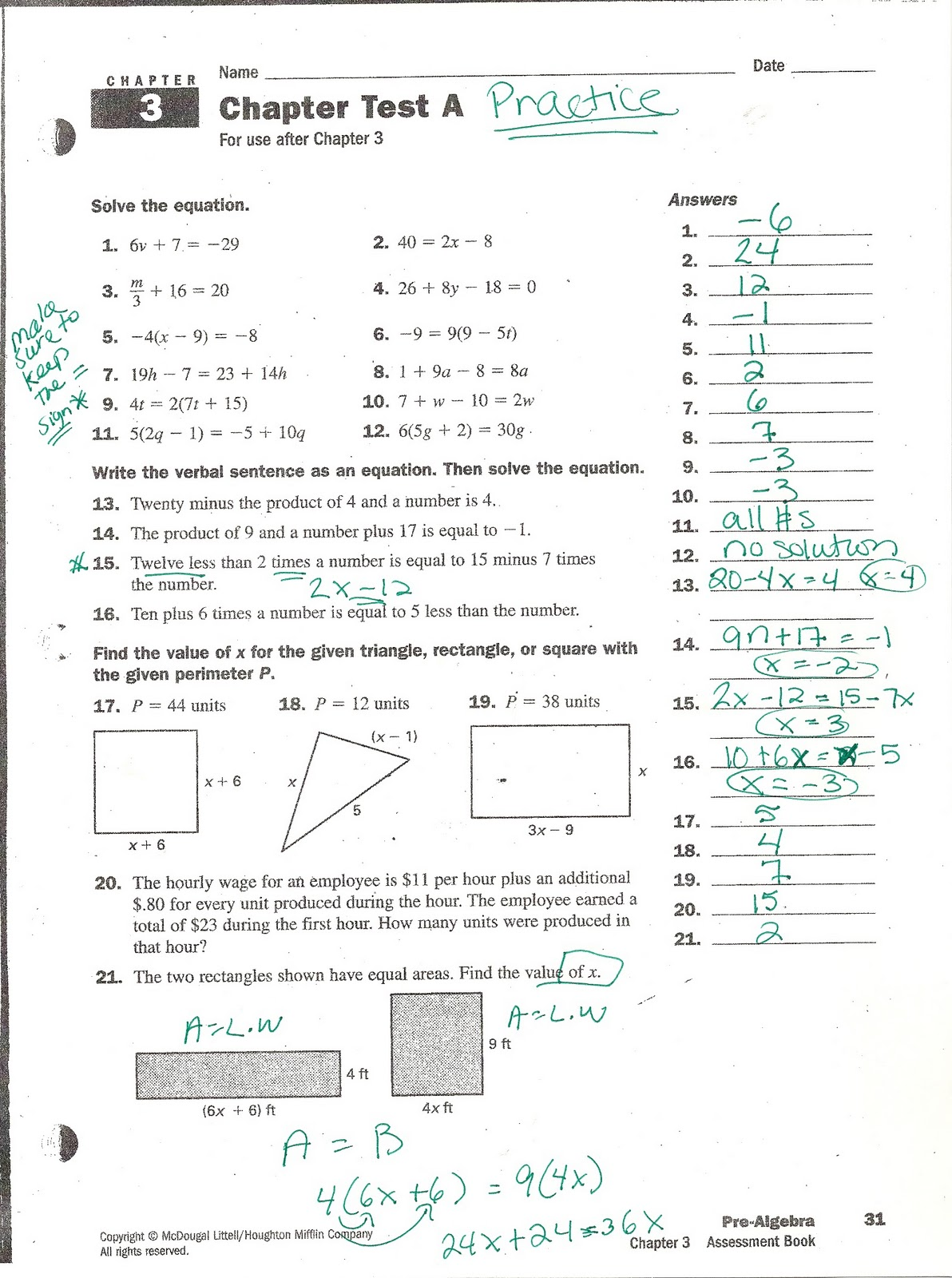 Glencoe Algebra 1 Answer Key Chapter 8 Test