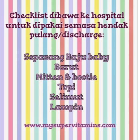 checklist barang baby untuk dibawa ke hospital