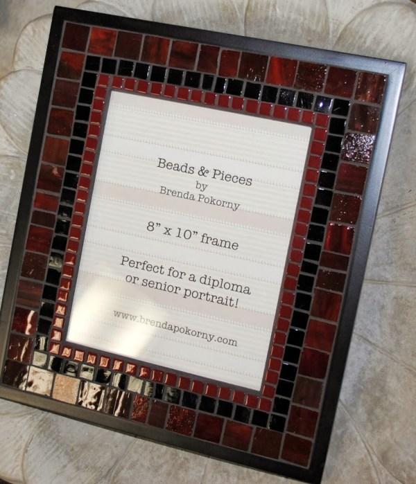 "Deep Burgundy & Black 8"" X 10"" Mosaic Frame Mof1397 - Beads Pieces"