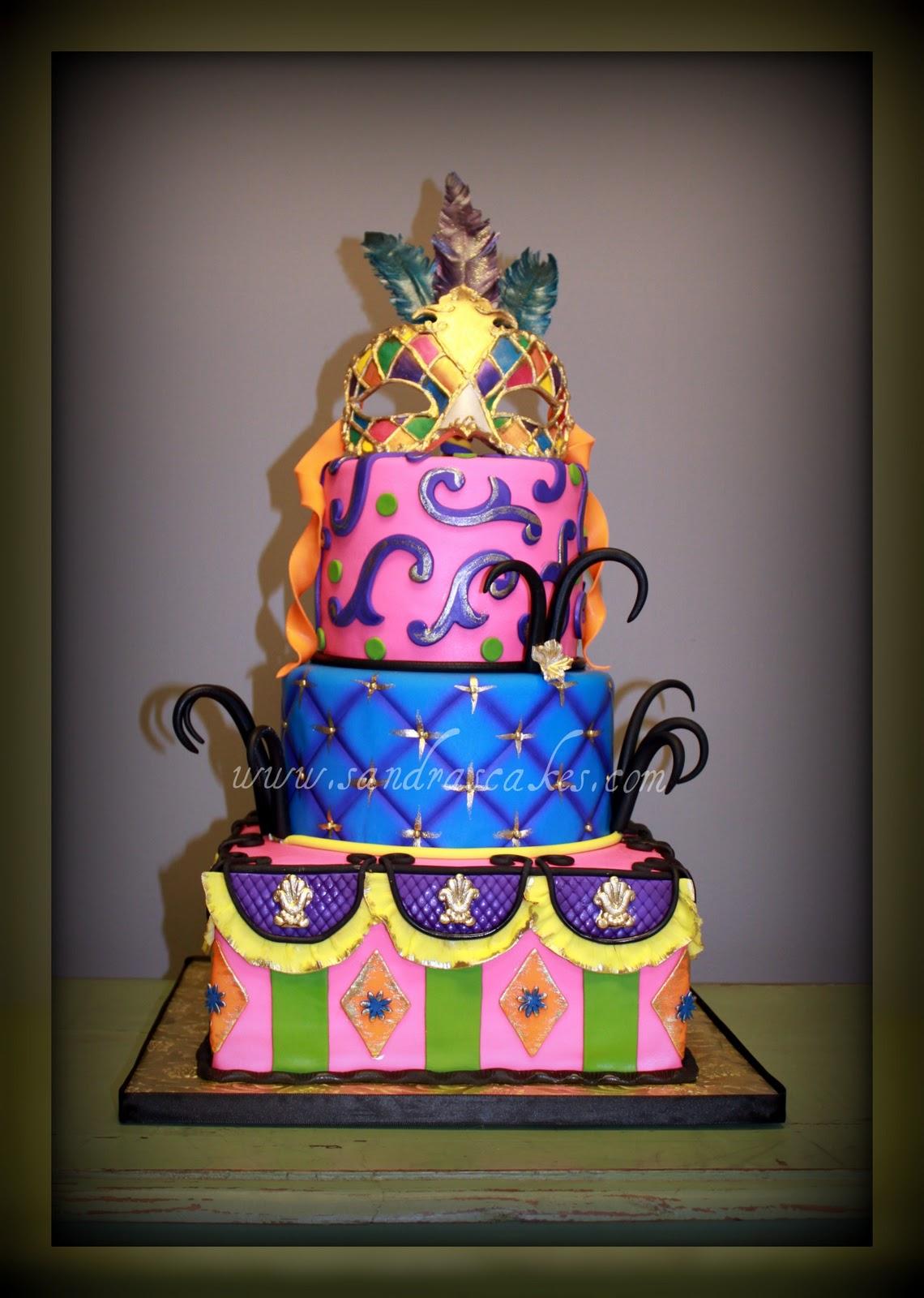 Beautiful Venetian Masquerade Birthday Cake