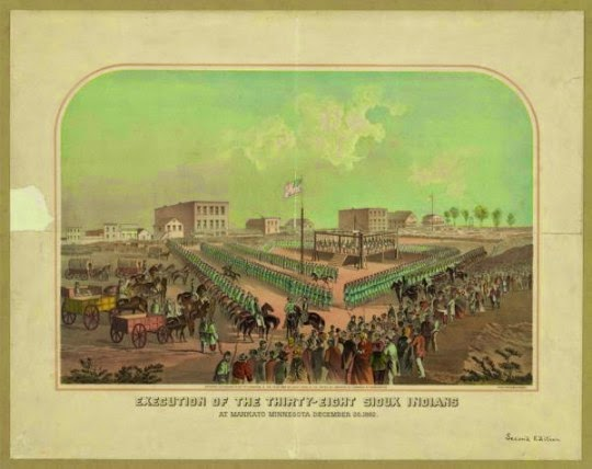 Library of Congress Prints and Photographs Division Washington, D.C. A print marking the execution of 38 Dakota men in December 1862. They were sentenced November 5, 1862.