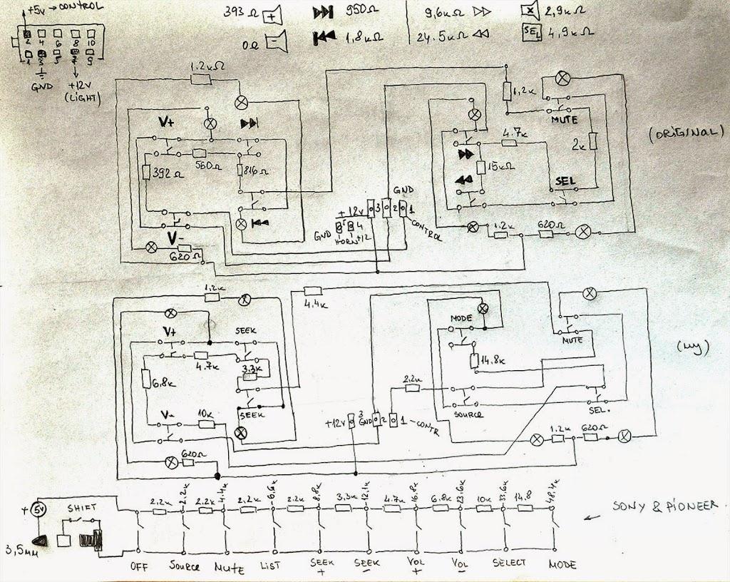 pioneer wiring remote single line diagram of electrical system xantia mk2 control sony stereo via steering wheel