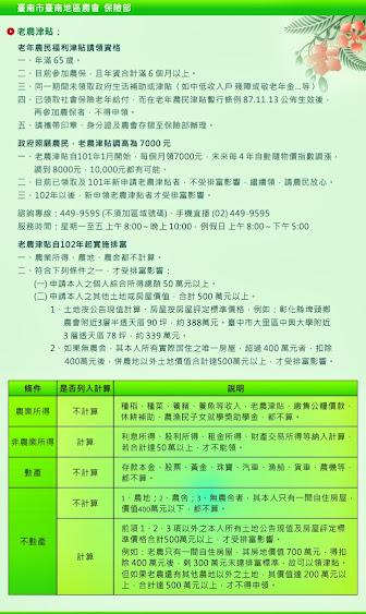 臺南市臺南地區農會-保險部-老農津貼