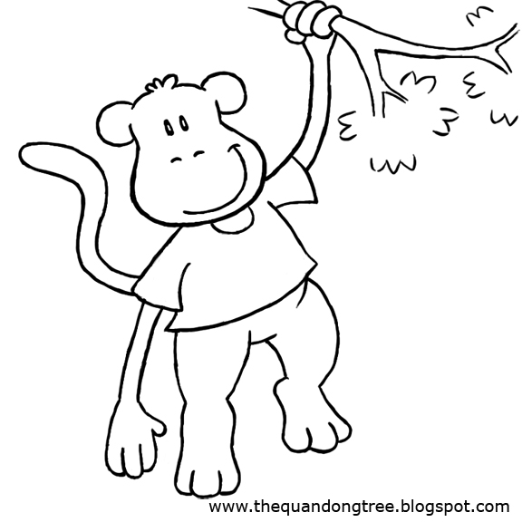 Free Coloring Pages Of Palm Tree Cartoon Monkey