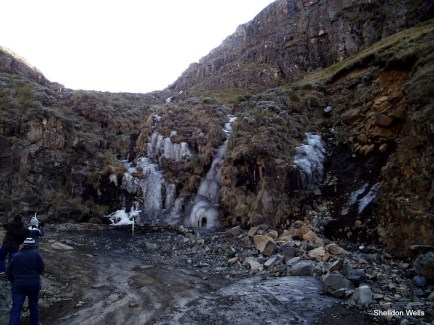 Frozen waterfall near the top of the pass