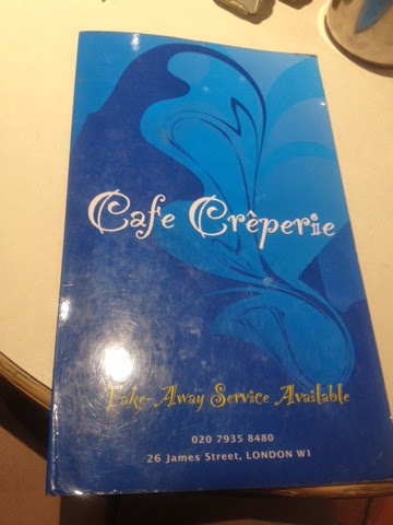 the menu at Cafe Creperie at St Cristopher's Place