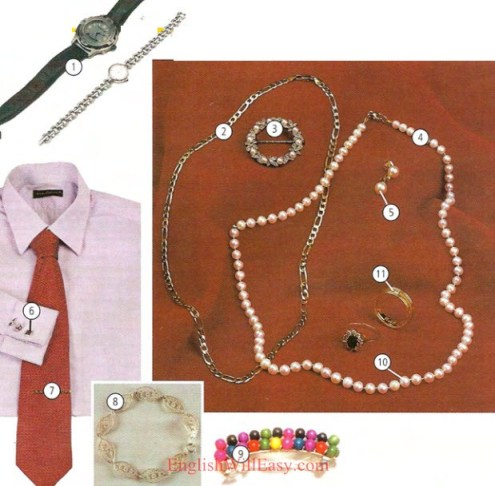 JEWELRY   1 watch 2 chain 3 brooch/pin 4 necklace 5 earring 6 cufflink 7 tie clip 8 bracelet 9 barrette 10 pearls 11 ring