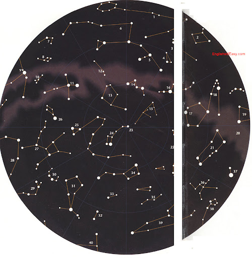 Constellations of the Northern Hemisphere    1. Pisces, Fishes 2. Cetus, Whale 3. Aries, Ram 4. Triangulum Triangle. 5. Andromeda, Andromeda 6. Pegasus, Winged Horse 7. Equuleus, Little Horse 8. Delphinus, Dolphin. 9. Aquila, Eagle 10. Sagitta, Arrow 11. Cygnus,  Swan 12. Lacerta, Lizard 13. Cepheus, King 14. Cassiopeia , Lady in the Chairn 15. Camelopardus, Giraffe 16. Perseus, Perseus 17. Auriga, Charioteer 18. Taurus, Bull 19. Orion , Hunter 20. The Milky Way 21. Gemini, Twins 22. Lynx 23. Polaris, North Star 24. Ursa Minor, Little Bear 25. Draco, Dragon 26. Lyra, Lyre 27. Hercules, Hercules 28. Ophiuchus, Serpent Bearer 29. Serpens , Serpent 30. Corona Borelis, Northern Crown 31. Bootes, Herdsman 32. Coma Berenices , Berenice's Hair 33. Canes Venatici, Hunting Dogs 34. Ursa Major, Great Bear 35. Leo Minor, Little Lion 36. Cancer, Crab 37. Canis Minor, Little Dog 38. Hydra , Water Snake 39. Leo , Lion 40. Virgo, Virgin.