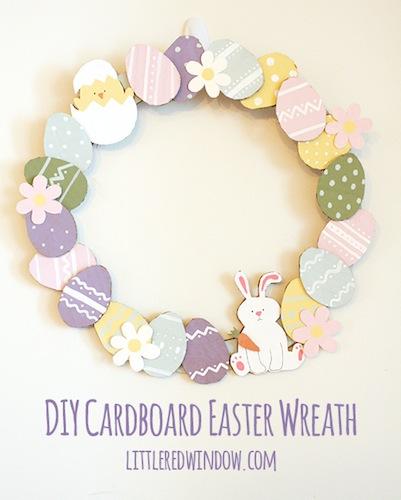 DIY Cardboard Easter Wreath by Little Red Window