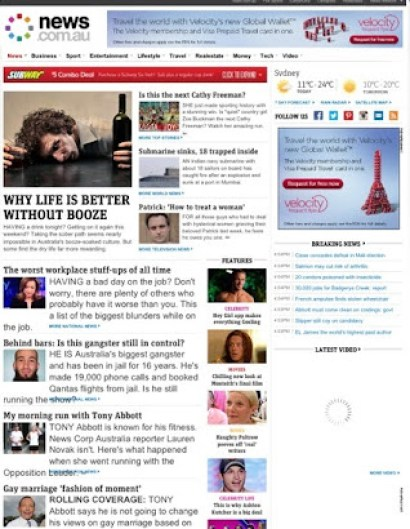 Pic of News Ltd Website - 14 Aug 2013