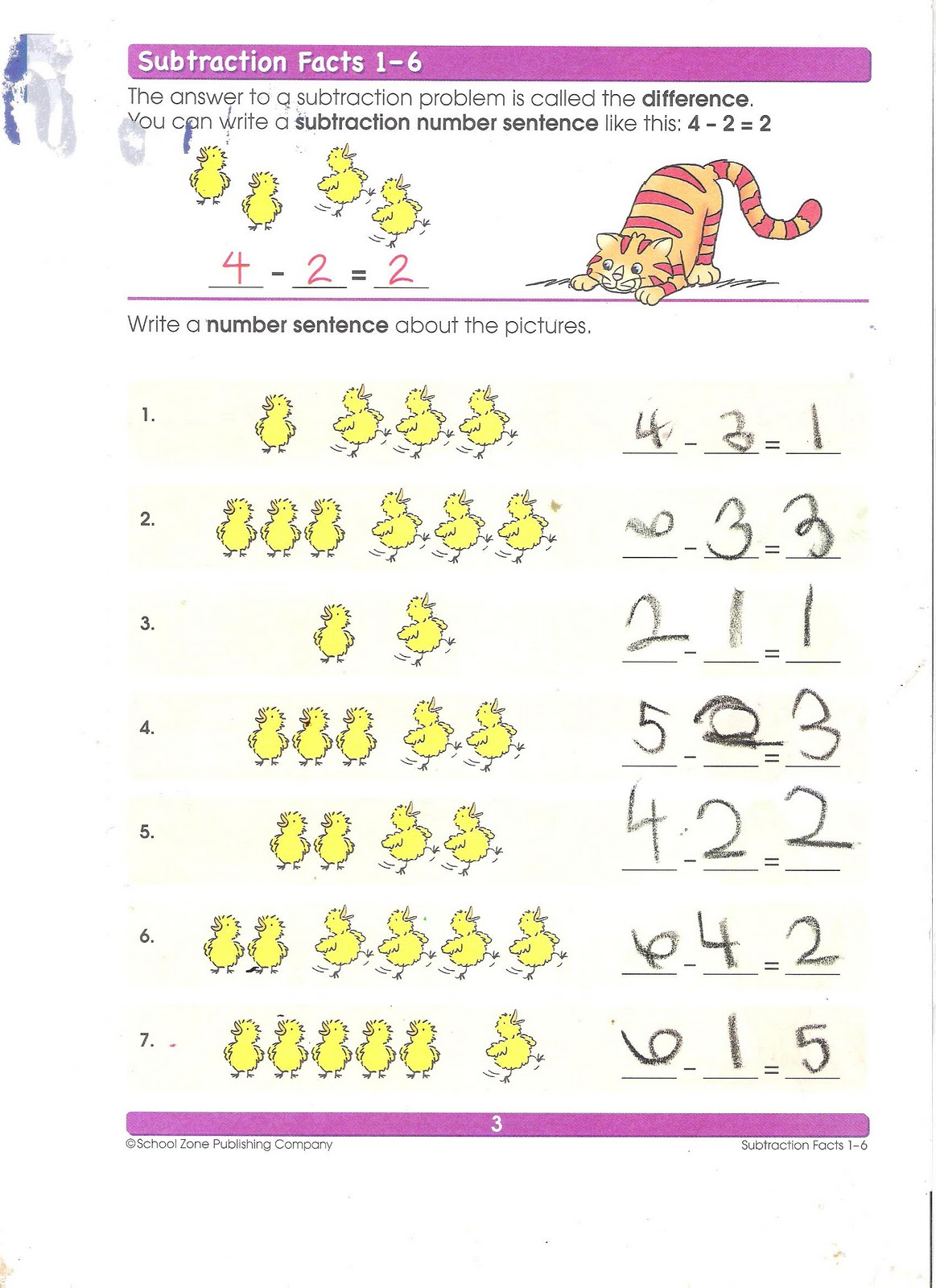 Cardo School Subtraction Math Worksheet Completed