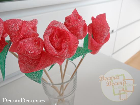 Rosas hechas con gominolas.