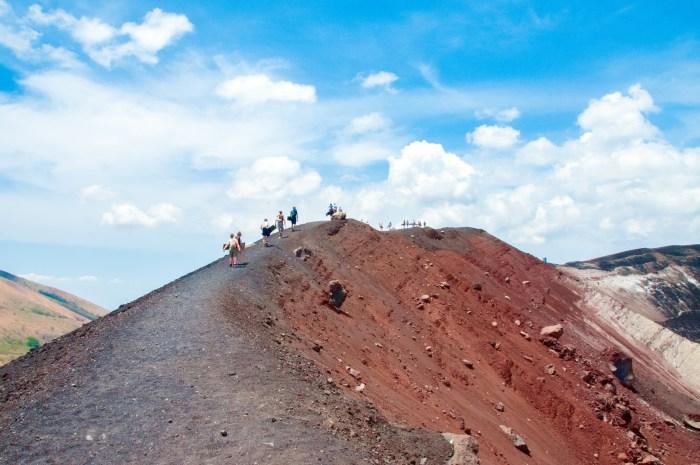 Hiking up El Cerro Negro for volcano boarding in Nicaragua