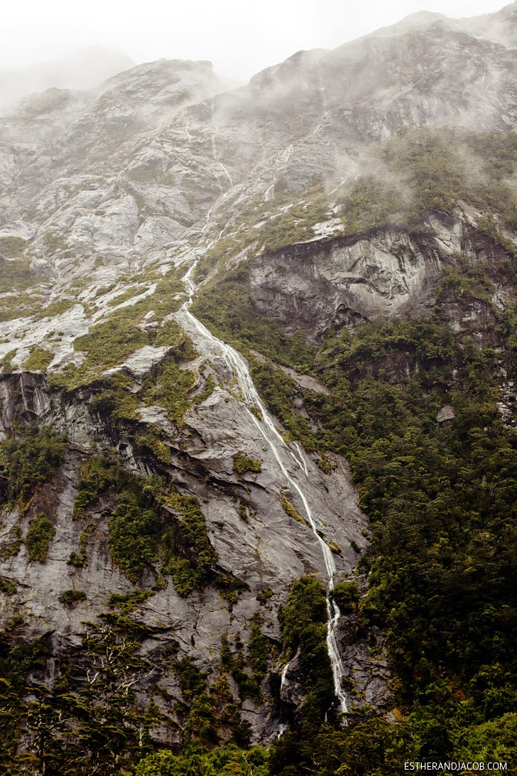 Valley of a thousand waterfalls Milford Sound New Zealand.
