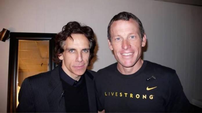 Ben Stiller con el heptacampeón Lance Armstrong (todos estaban dopados, así que sigue siendo el mejor de sus Tours)