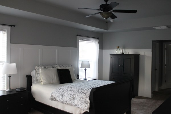 white walls grey ceiling bedroom Cents-able Spaces: Master Bedroom