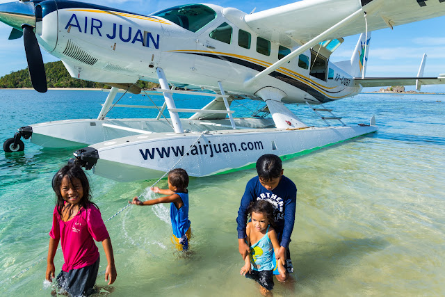 Caravan seaplane on a remote island off the Culion and Busuanga Islands north of Palawan