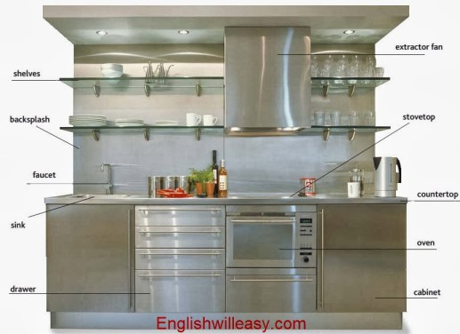 crusta, backsplash faucet, concidat drawer, extractor fan, stovelop, countertop: clibano, scrinium