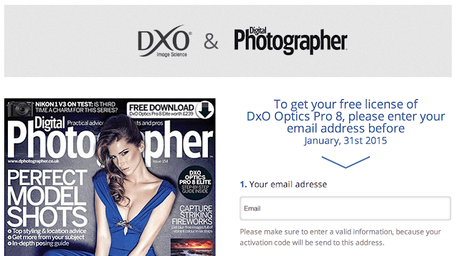 To get your free license of DxO Optics Pro 8, please enter your email address before January, 31st 2015