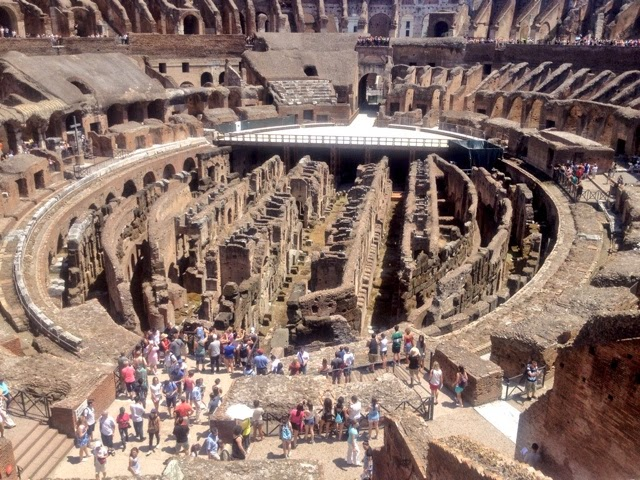 The ancient ruins of the Coliseum in Rome