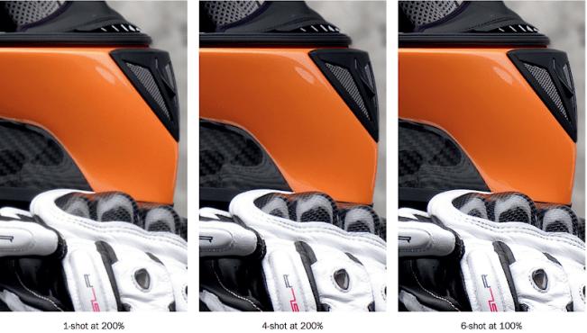 ハッセルブラッド H5DMS マルチショット 2ショット200%、4ショット200%、6ショット100%の拡大比較