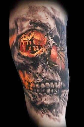 Skull Man And Woman Kissing Tattoo