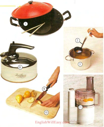 home kitchen equipment for office pictures and list of utensils with picture names 1 wok 2 ladle 3 pot 8 tea kettle 9 knife 10 cutting board 11 food processor
