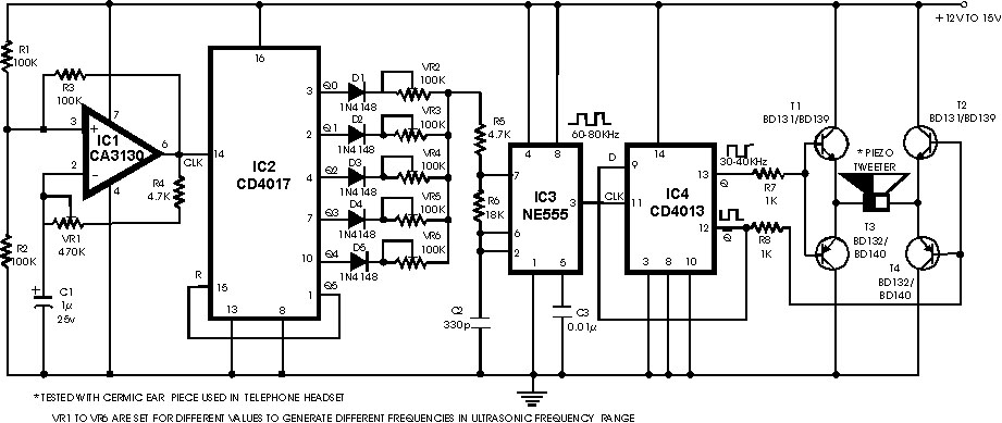 lm386 projects ultrasonic detector circuit using lm386