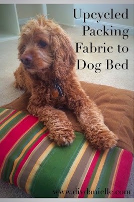 How to upcycle packing fabric into a dog bed.
