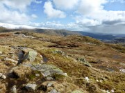 Just below the summit of Calf Crag looking towards Rough Crag