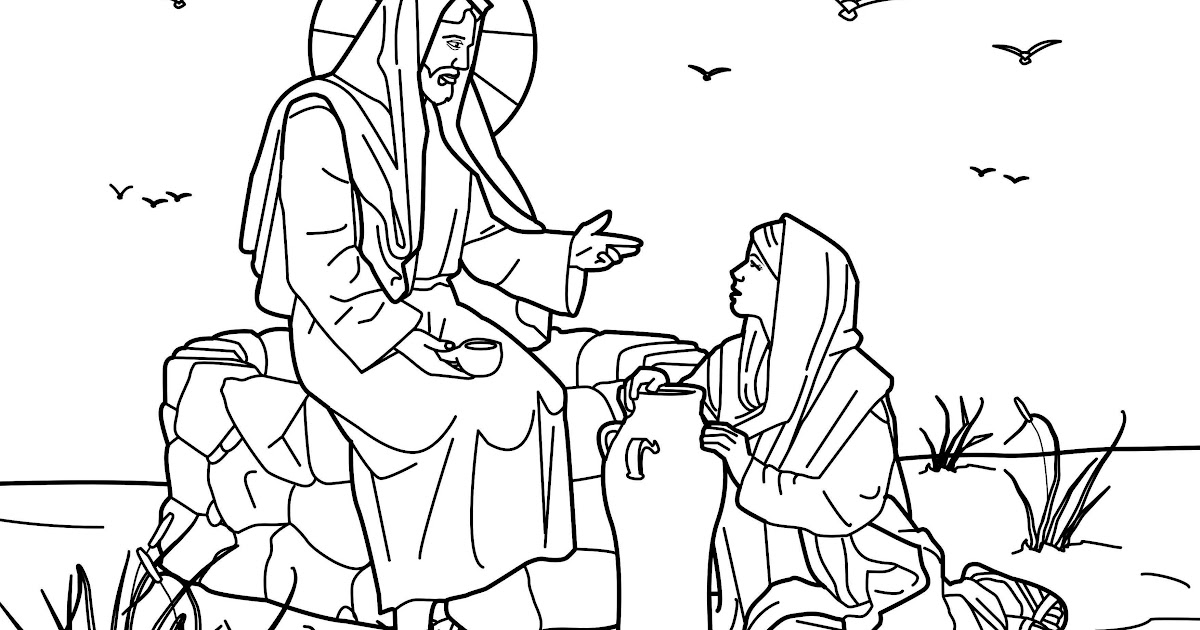 為孩子們的著色頁: jesus with the samaritan woman at the well