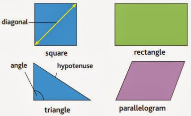 square, diagonal, rectangle, angle, hypotenuse, triangle, parallelogram