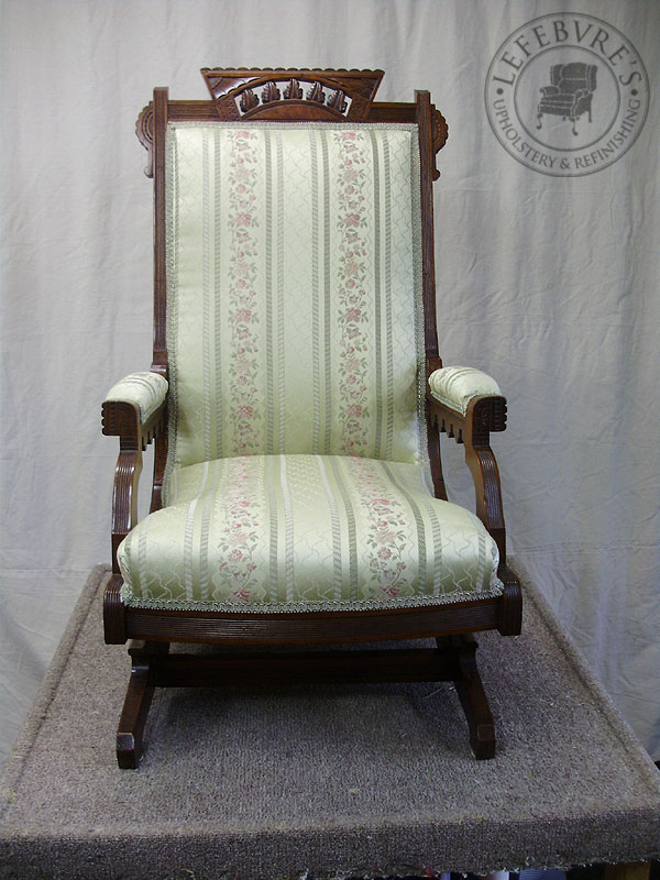 antique platform rocking chair with springs ergonomic requirements lefebvre's upholstery: eastlake / victorian rocker - floral striped fabric