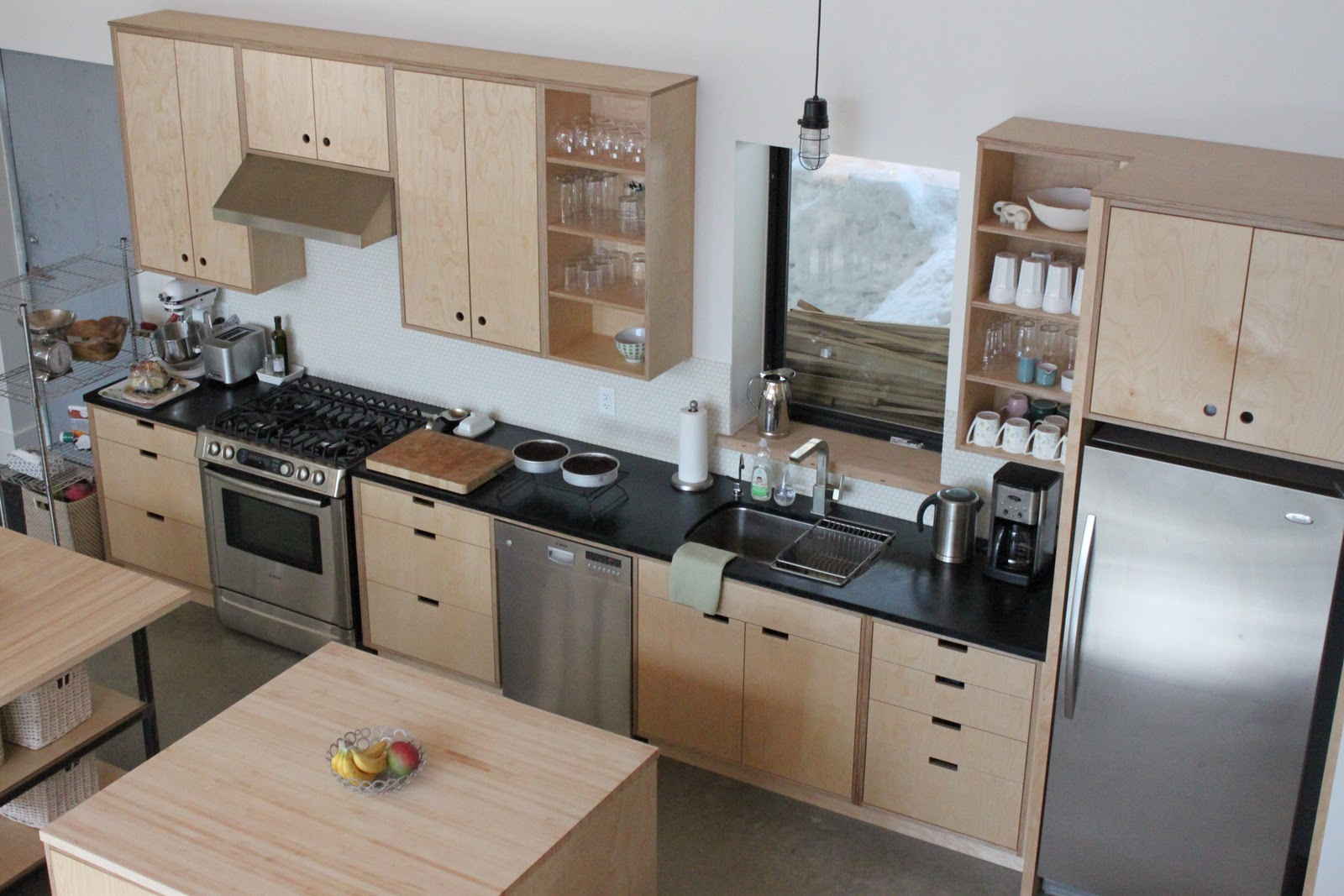 plywood kitchen cabinets island with granite top and seating the little forest house