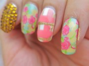 country floral water decal nail