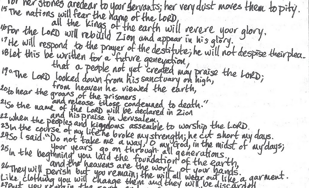 Journey through Psalms...An Addict's View: Psalm 102 (KJV