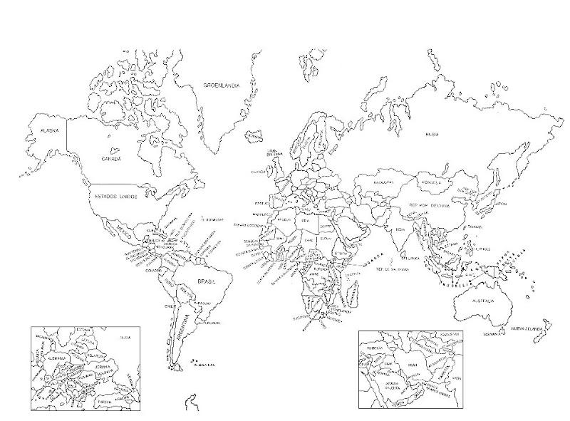 Pinto Dibujos Mapa Del Mundo Con Nombres Para Colorear