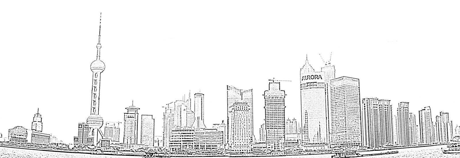 Stock Pictures: Shanghai skyscraper sketches and silhouette