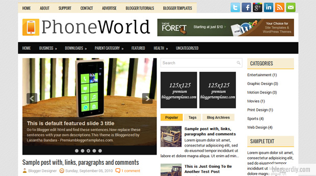 Phone World Blogger template