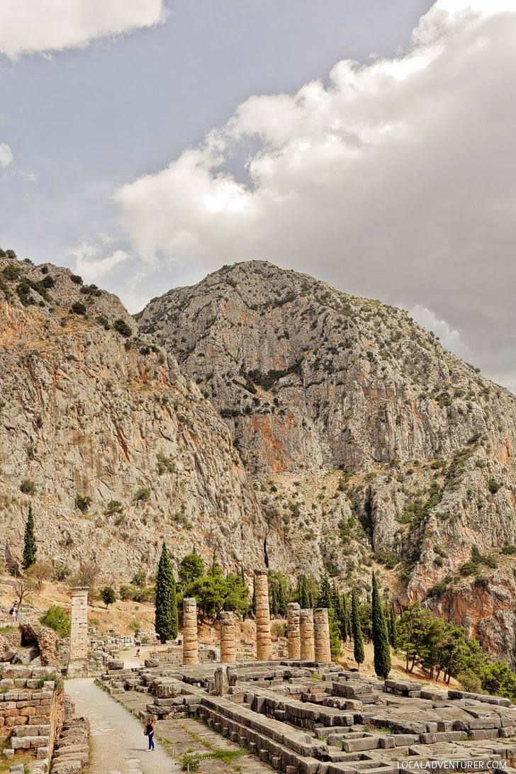 The Temple of Apollo at Delphi Greece.