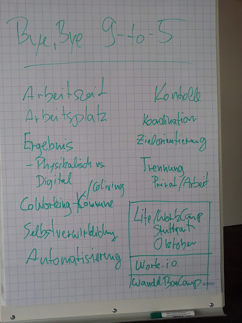 Bild vom Mitschrieb während der Session Byebye 9-5 auf dem Barcamp Bodensee 2012