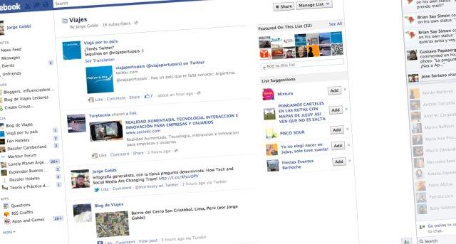La lista Viajes en Facebook