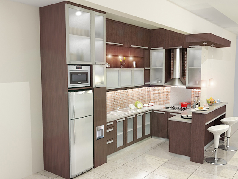 KITCHEN SET BENTUK U DENGAN MEJA PANTRY  Dian Interior Design