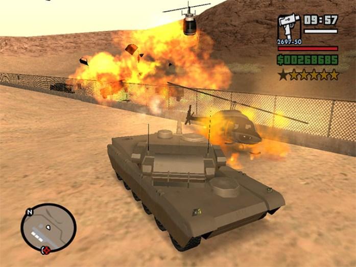 Roubando um tanque na Area 69 e explodindo helicópteros da polícia, GTA San Andreas