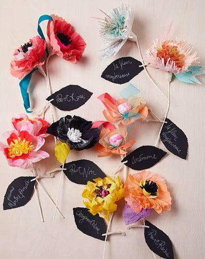Flores hechas de papel.